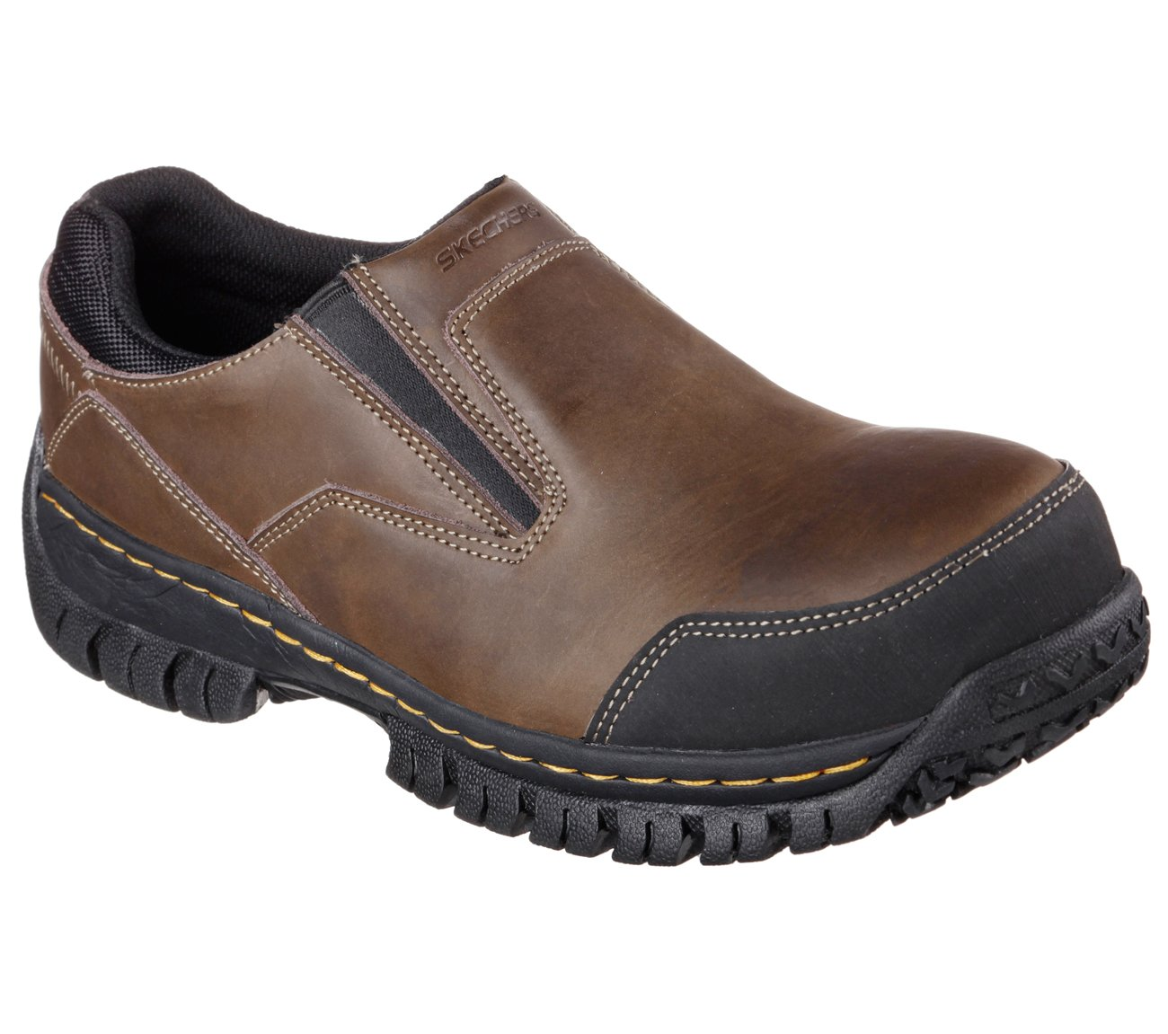 Skechers Work Relaxed Fit Hartan ST Mens Steel Toe Slip On Loafers Dark Brown 10 W
