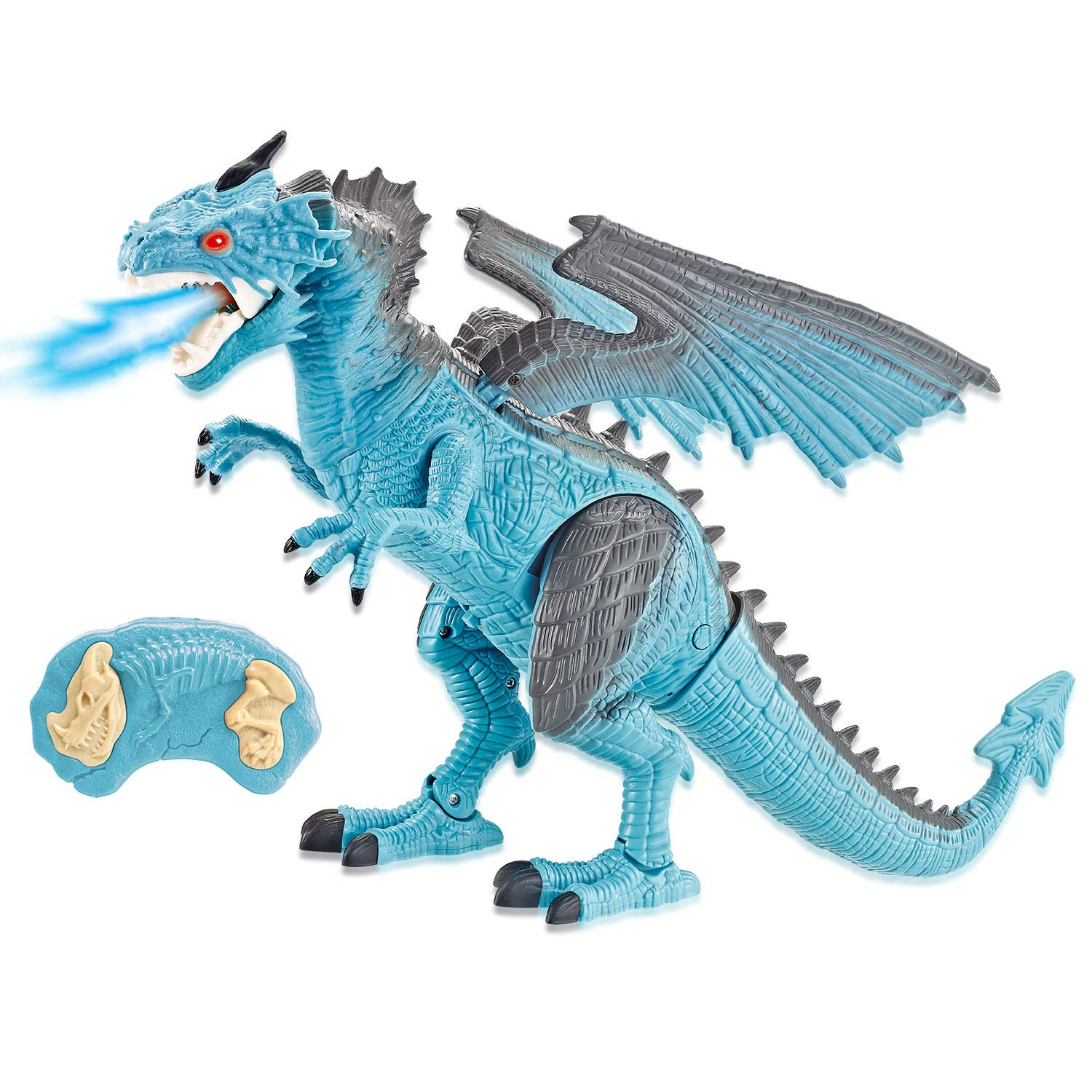 Liberty Imports Dino Planet Remote Control RC Walking Dinosaur Toy with Breathing Smoke, Shaking Head, Light Up Eyes and Sounds (Ice Dragon (with Smoke)) by Liberty Imports (Image #1)