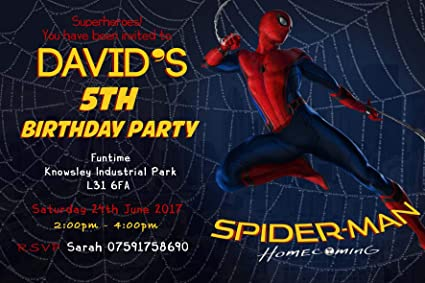 Spiderman Homecoming Party Invitation Cards Envelopes K179 Click Customize Now For Pricing