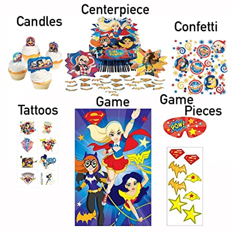 DC Superhero Girls Birthday Party Centerpiece Decorations Kit For Table Game Confetti