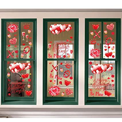 valentines office decorations with ivenf 4ft extra large heart valentineu0027s day window clings decorations kids school home amazoncom