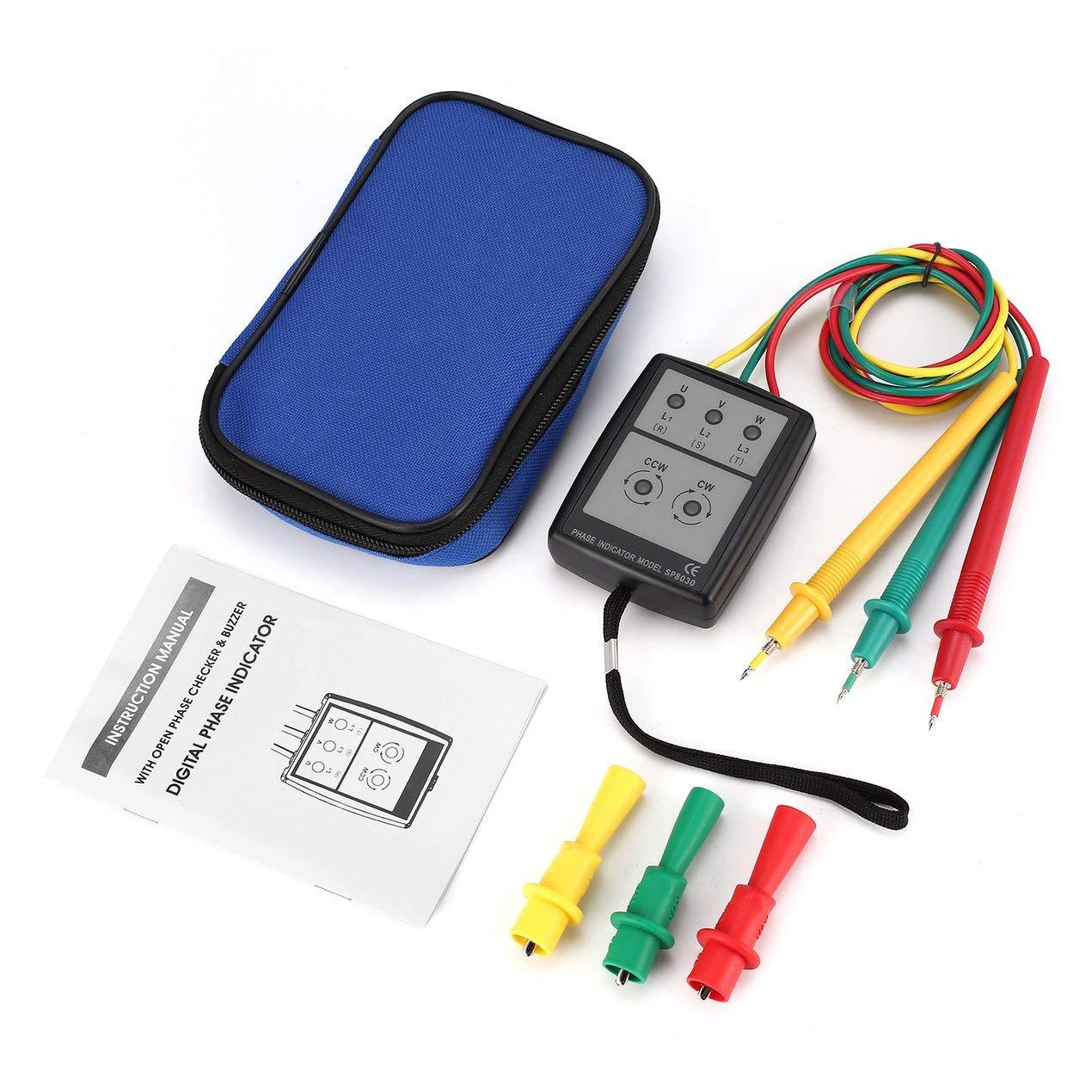SP8030 Probador de rotació n trifá sico Detector de fase digital LED Zumbador Medidor de secuencia de fase Probador de voltaje 200V-480V CA Dooret