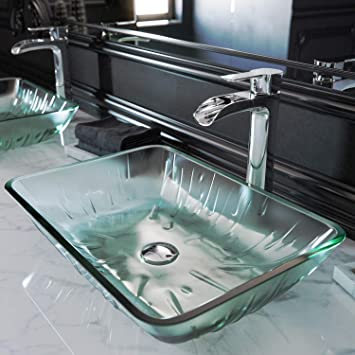 Vigo Vg07077 Rectangular Icicles Glass Vessel Bathroom Sink Clear