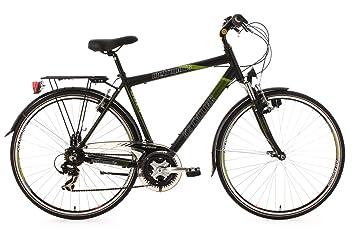 """KS Cycling Metropolis - Bicicleta de trekking, color negro / verde, ruedas 28"""""""