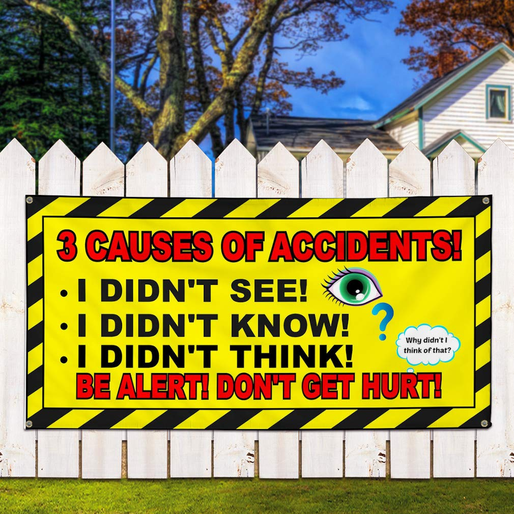 8 Grommets Vinyl Banner Sign 3 Causes of Accidents Yellow Black Marketing Advertising Yellow 48inx96in One Banner Multiple Sizes Available