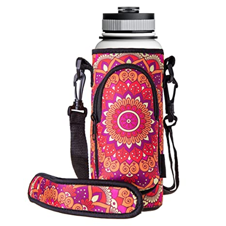 Portable Neoprene Water Bottle Pouch Sleeve Carrier Holder with Carry Handle