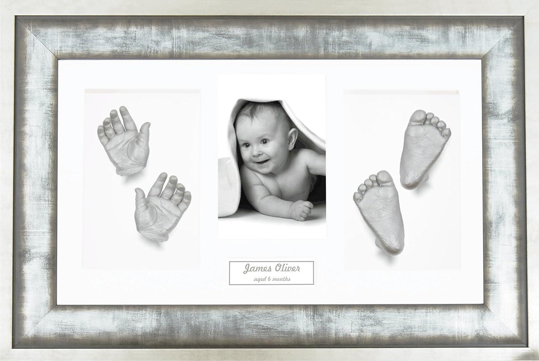 BabyRice Large Baby Casting Kit 14.5x8.5 Urban Metal Frame Silver metallic paint Black mount great for Twins!