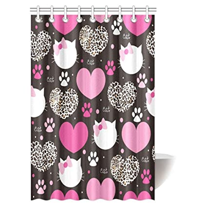 Leopard Print Shower Curtain Set Heart With Cat Face World Wildlife Bath Waterproof