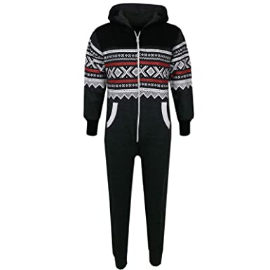 a4aa93e9a3b Kids Girls Boys Aztec Snowflake Print Hooded Onesie All In One Jumpsuit Age  5-13