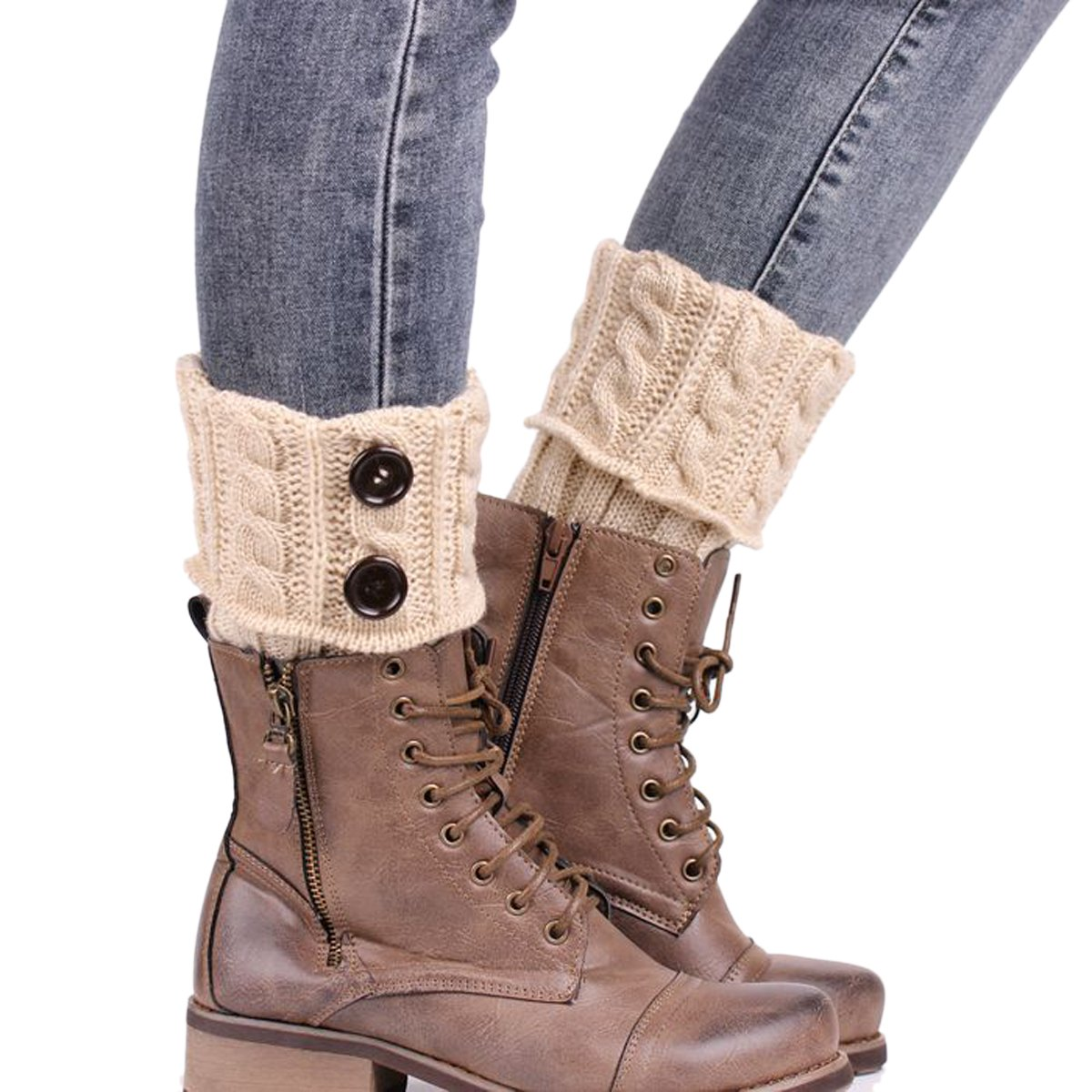 ZUMUii Butterme Damen Frauen kurze H/äkeln Knit Twist Stiefel Stulpen Toppers Winter Cable Knit Beinw/ärmer mit Kn/öpfen