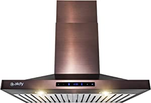 AKDY Wall Mount Range Hood -30 in. Stainless Steel Hood for Kitchen – 3 Speed Professional Quiet Motor - Premium Touch Control Panel - Minimalist Design (Brushed Bronze Stainless Steel)