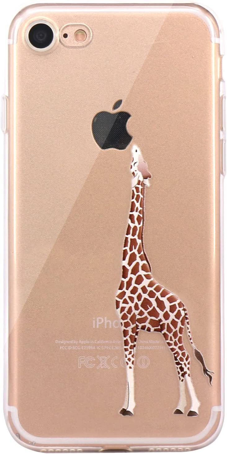 JAHOLAN iPhone 7 Case, iPhone 8 Case Amusing Whimsical Design Clear Bumper TPU Soft Case Rubber Silicone Cover for iPhone 7 iPhone 8 - Eating Giraffe