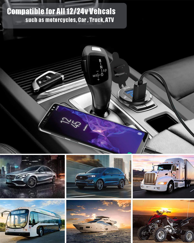 GemCoo USB de Cargador QC3.0 Cargador R/ápida de Dos Puertos USB Aluminio 12V // 24V 36W Pantalla LED Digital para Adaptador Cargador para Coches Motos Type C+QC3.0 Azul Motocicleta o Barco G