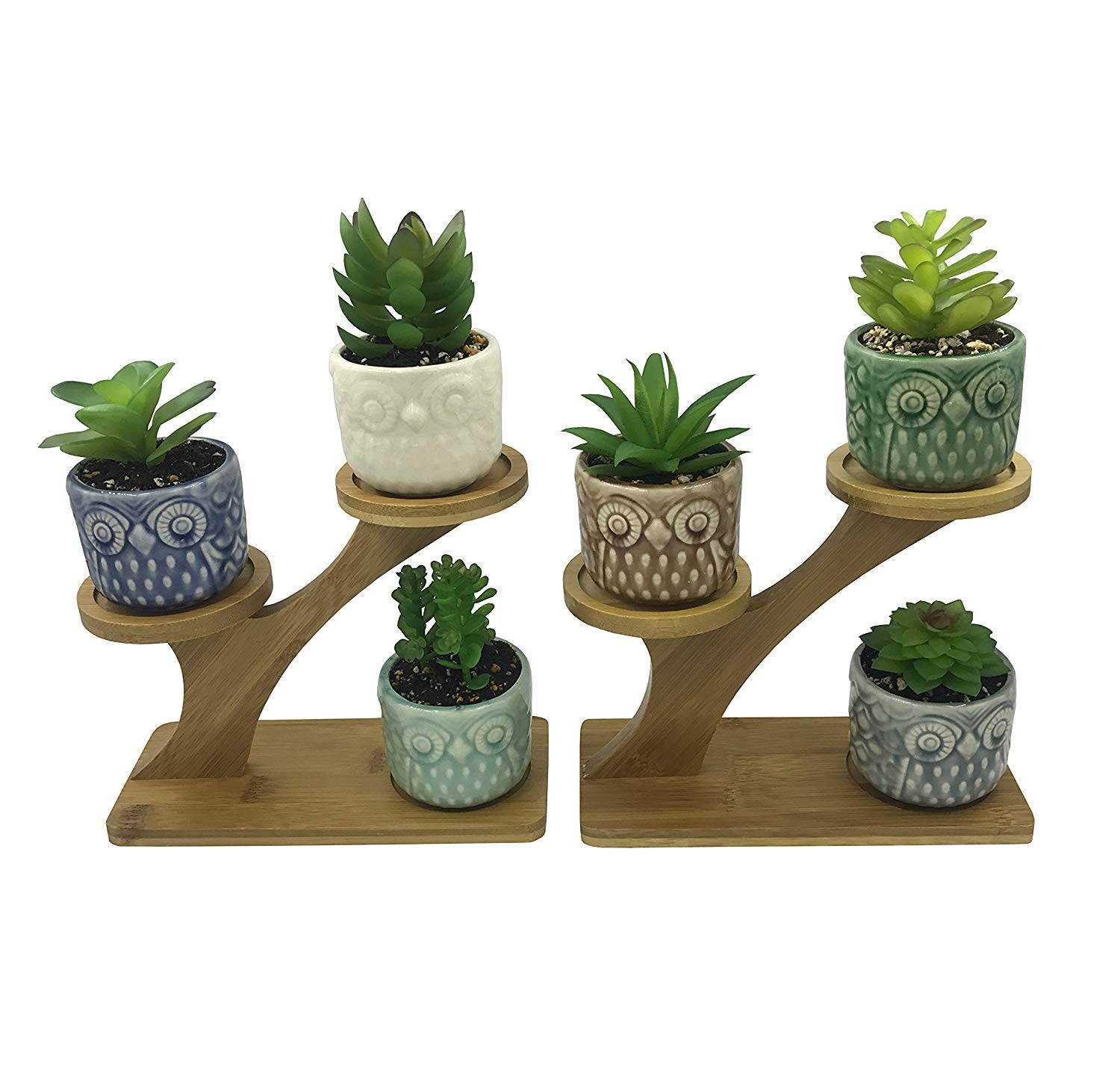 6 PCS Coloful Ceramic Round Owl Succulent Plant Pots, with 2 PCS 3 Tier Treetop Shaped Bamboo Flower Pot Stands Holder,for Home Garden Office Desktop Decoration
