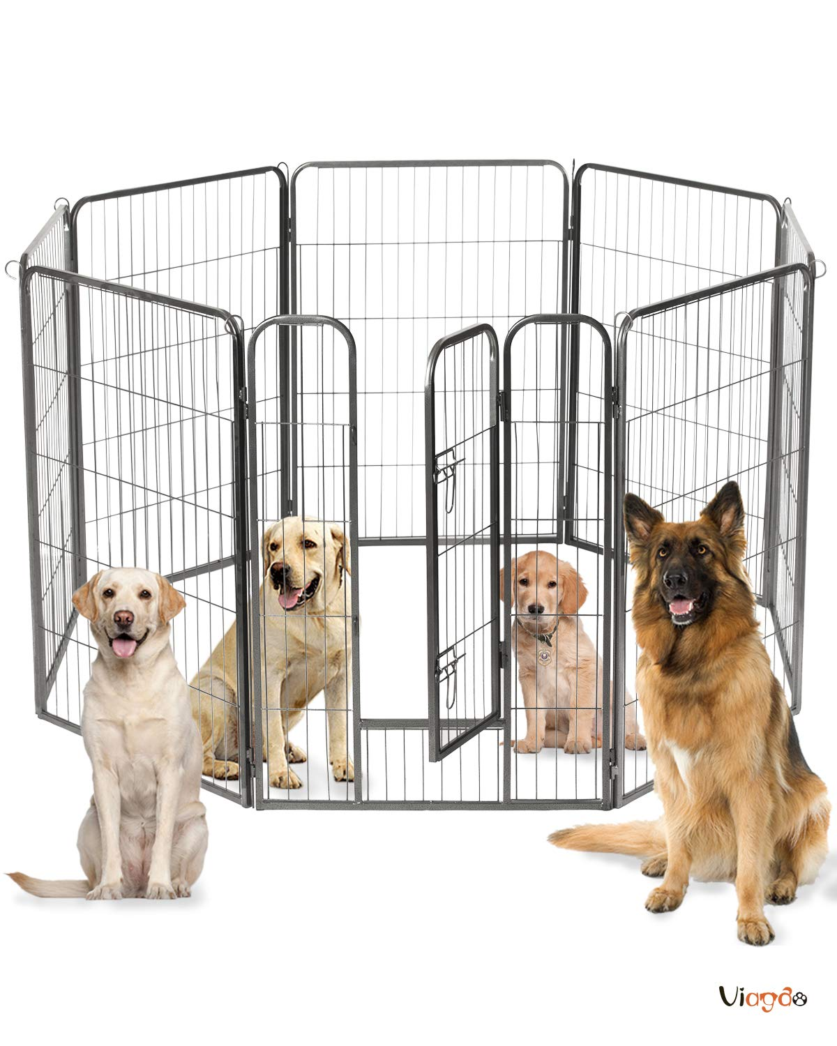 VIAGDO Pet Playpen Dog Pen Fence Playpens for Dogs, Heightening 40 inches Tall, Heavy Duty Foldable Metal Puppy Cat Exercise Fence Barrier Playpen Kennel for Dogs Cats Outdoor & Indoor Use (8 Panel) by VIAGDO