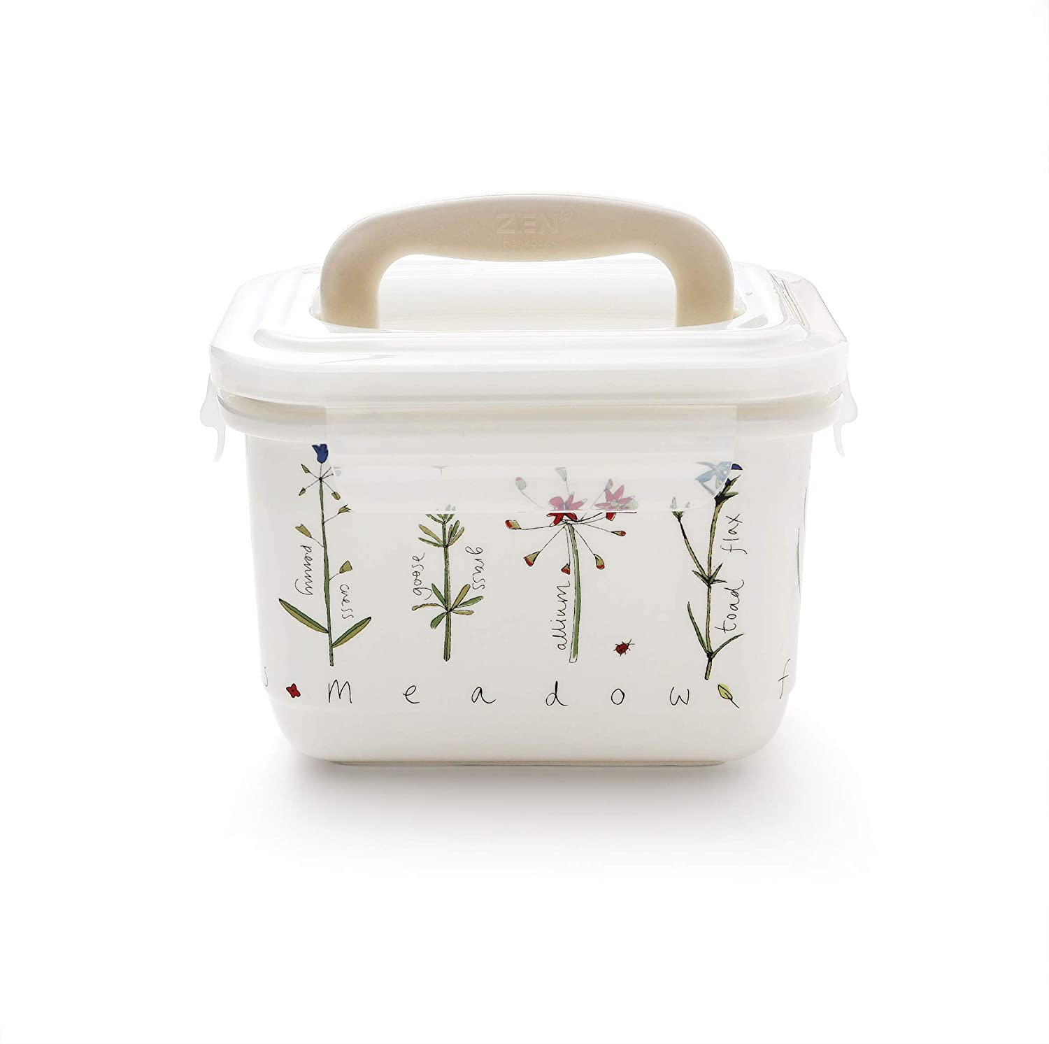 RACHEL BARKER Meadow Flower Porcelain Serve and Store Airtight Large Container (70OZ)