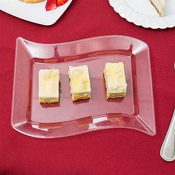 Pack de 10 - Elegantes platos de postre rectangulares de plástico duro ondulado (14 x 19 cm), transparente: Amazon.es: Hogar