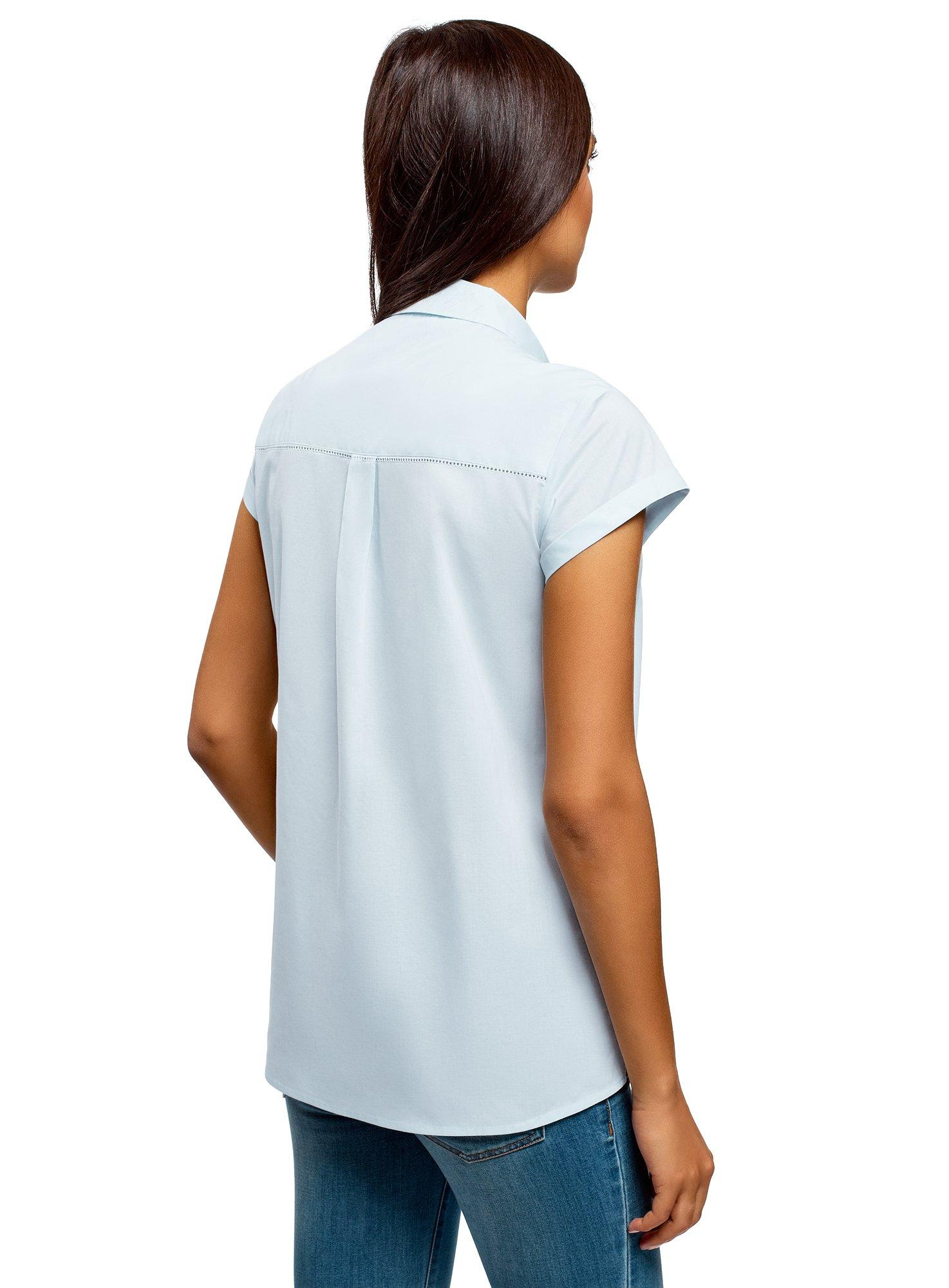 oodji Ultra Women's Short Sleeve Cotton Shirt with Turn-Ups, Blue, 2 by oodji (Image #3)