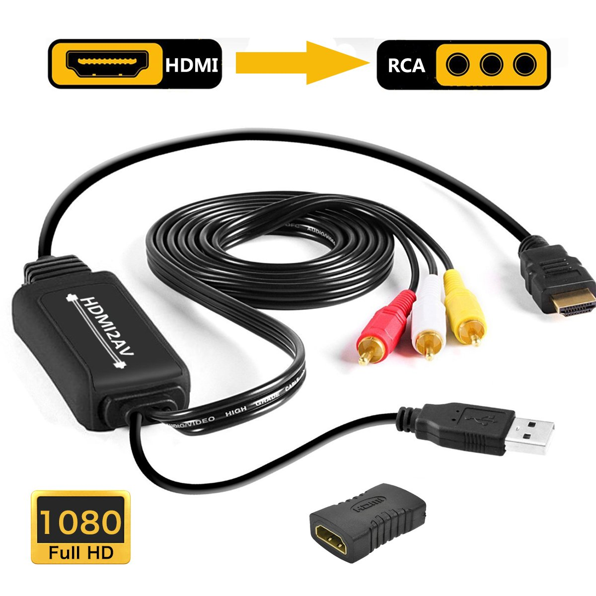 HDMI to RCA Cable, 1080P HDMI to AV CVBS Converter Plus HDMI Female to Female Adapter, with USB Charging for PC/Laptop/HDTV/DVD/PS3/PS4/STB etc by Iseebiz
