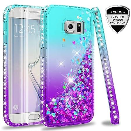 LeYi Hülle Galaxy S6 Edge Glitzer Handyhülle mit Full Cover 3D PET Schutzfolie(2 Stück),Diamond Rhinestone Bumper Schutzhülle
