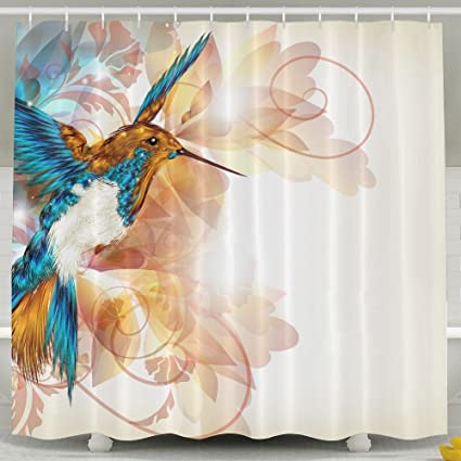3D Cute Colorful Hummingbird Shower Curtain Repellent Fabric Mildew  Resistant Machine Washable Bathroom Anti Bacterial