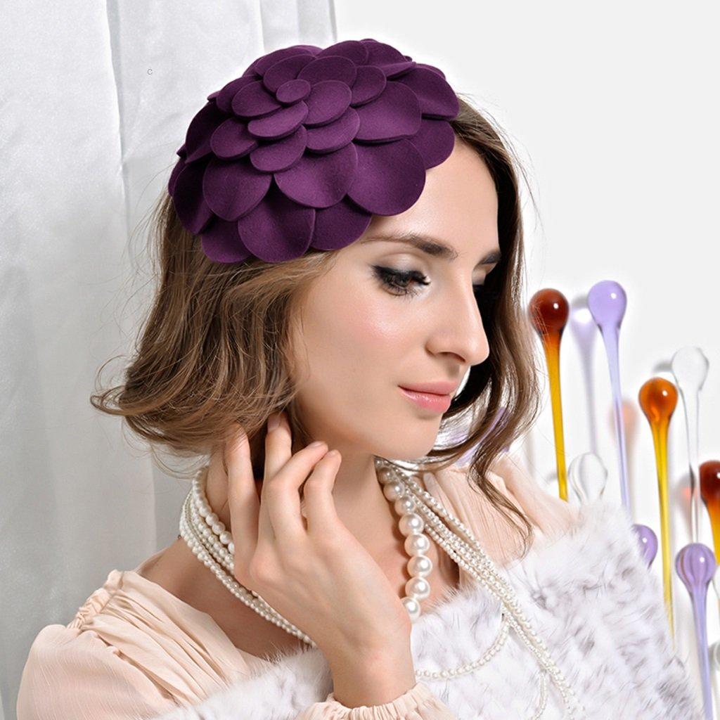 Cappello berretto lana viola cappello decorato adatta donna Fedora Trilby Toca Sombrero regalo di Natale