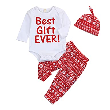 920d5eade622 3PCS Baby Girls Boys Outfit Christmas Romper Pants Hat Clothing Sets  Bodysuit Baby Outfits Set (