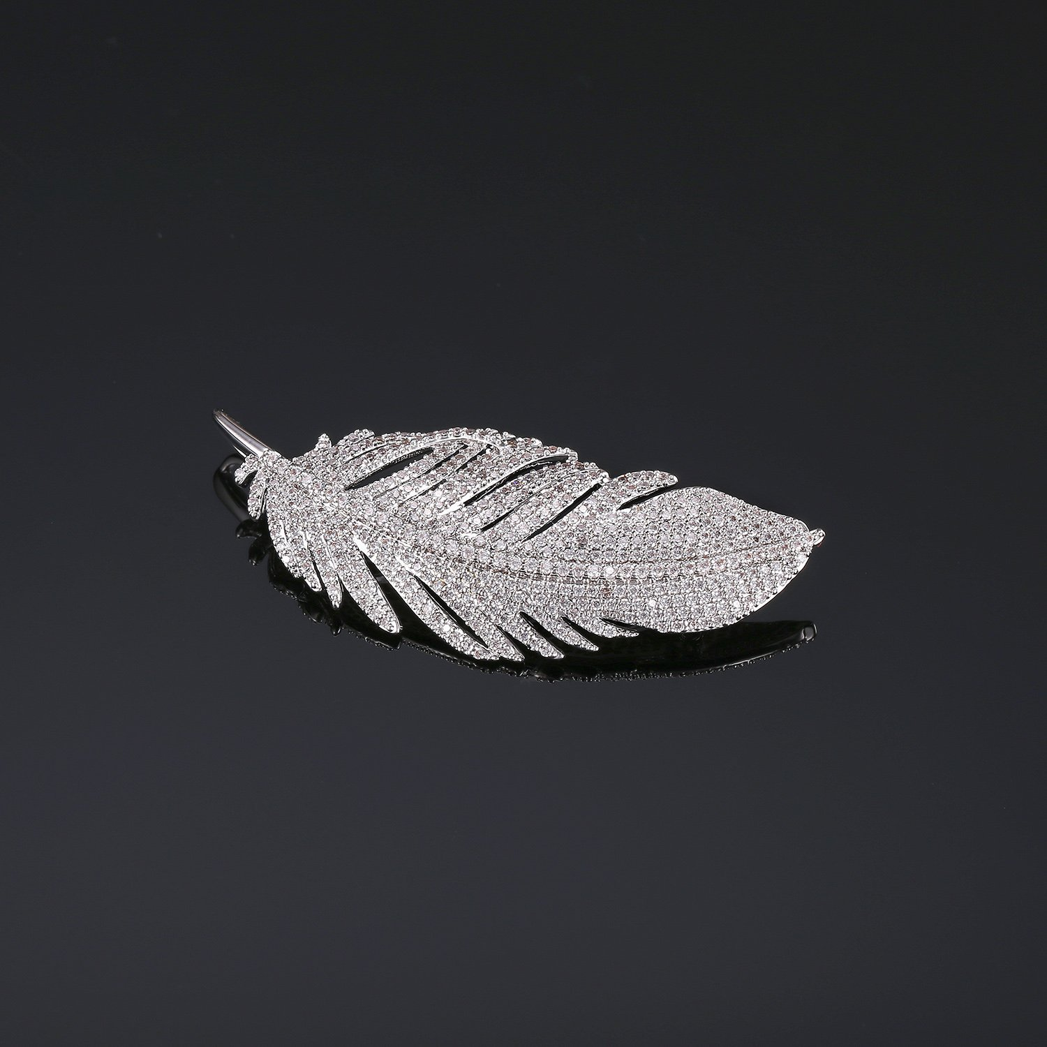 LILIE&WHITE White Gold Plated Cubic Zirconia Paved Feather Brooch Pin Mother's Day Gift Leaf Shape by LILIE&WHITE (Image #6)