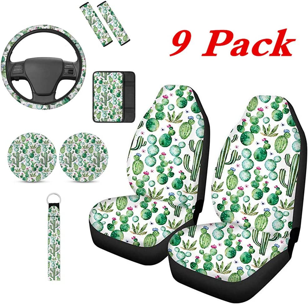 TOADDMOS 9 Pieces Beautiful Hawaiian Purple Sunset Beach Palm Tree Universal Front Seat Covers,Steering Wheel Cover,Armrest Cover,Seat Belt Pads,Car Cup Holder Coasters,Keychain