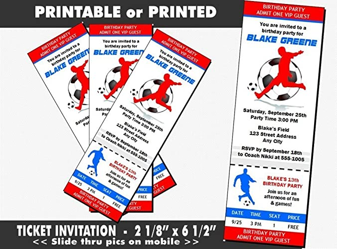 Soccer Birthday Party Ticket Invitation Printable Or Printed Option