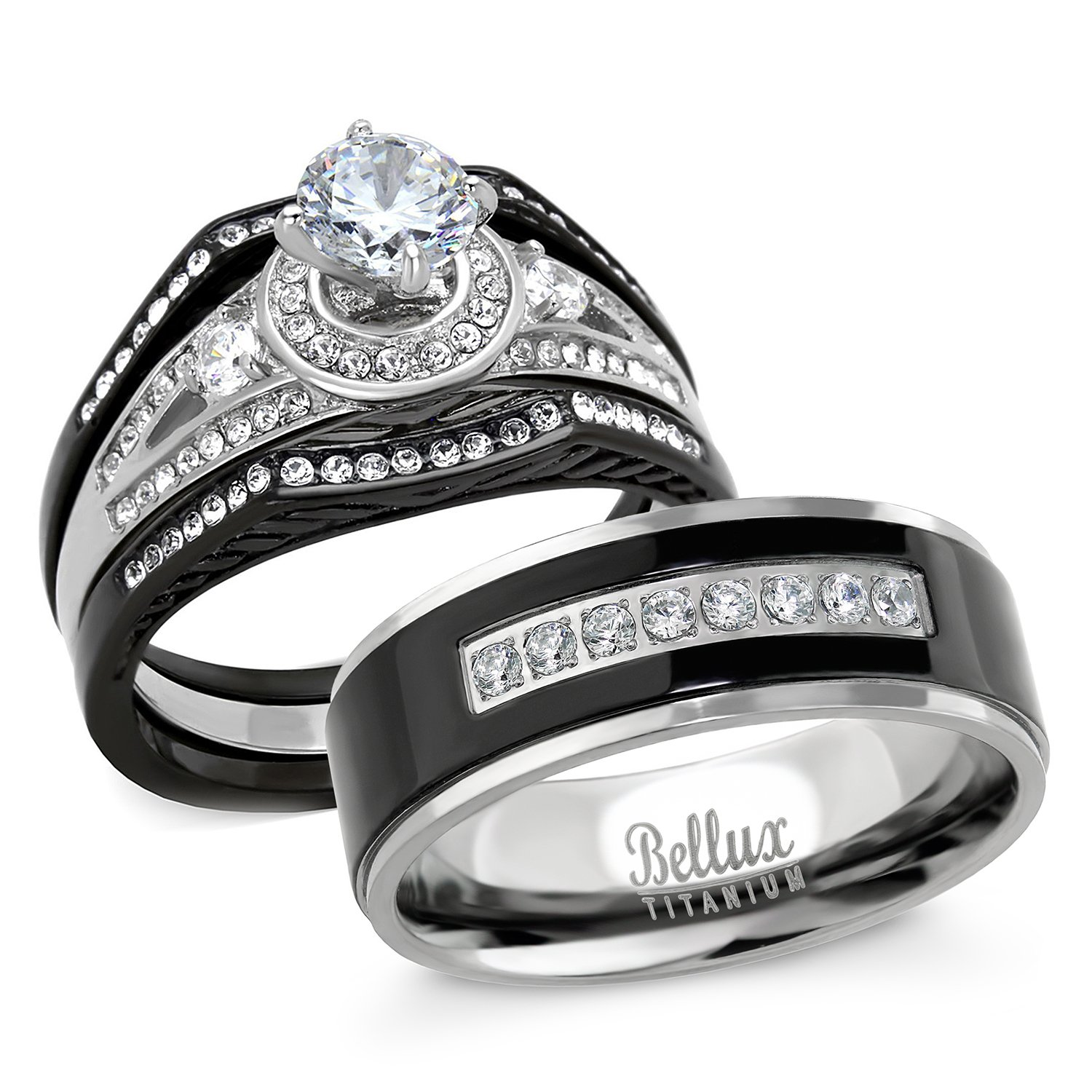 His and Hers Wedding Ring Sets Stainess Steel Vintage Style Halo Deisgn Bridal Sets Wedding Rings with Matching Wedding Band (Women's Size 07 & Men's Size 11)