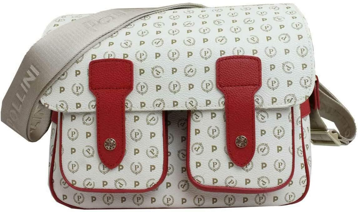Pollini Heritage Classic shoulder bag with flap over Avorio/Rosso