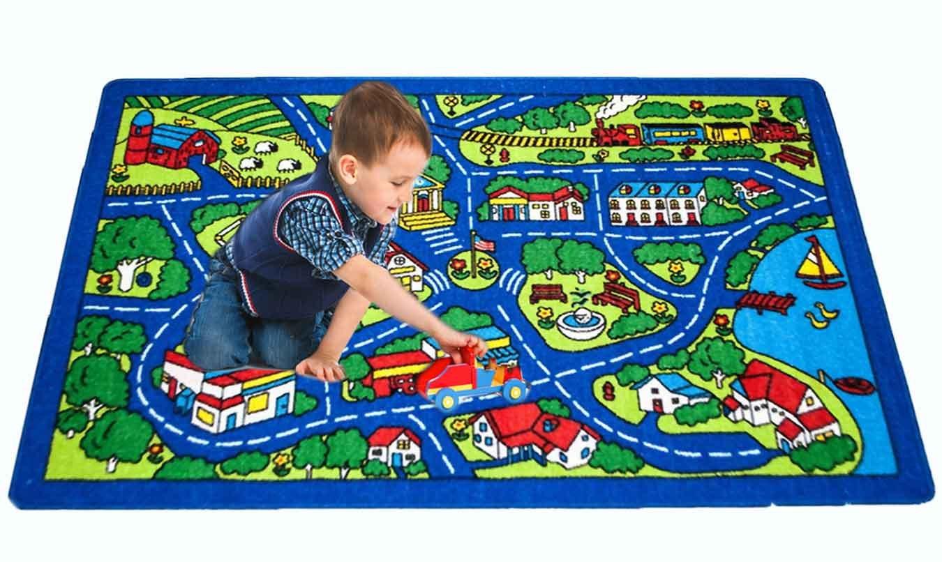 Kids Area Rug - Street Map Blue Design (7 Ft. 4 In. X 10 Ft. 4 In.)