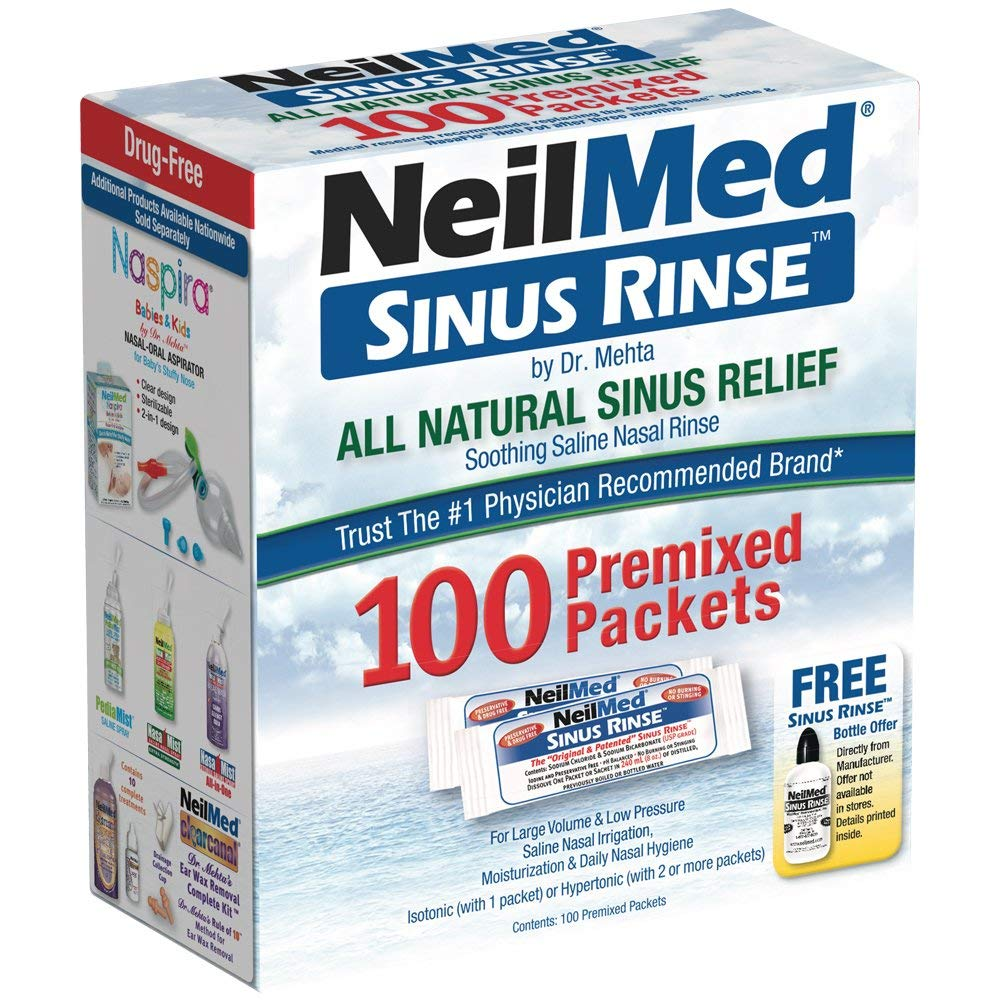 NeilMed Sinus Rinse All Natural Relief Premixed Refill Packets 100 Each, Pack of 2