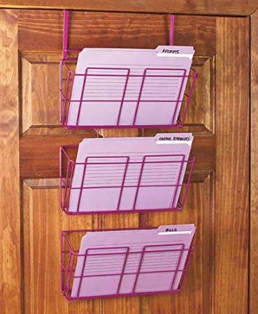 3 tier hanging file organizer purple for office cubicle wall or over door