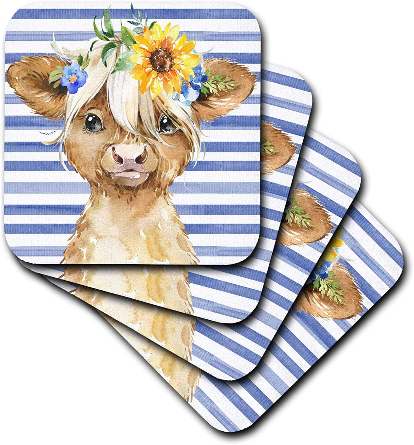 3dRose Cute Image Of Watercolor Sunflower Highland Cow Illustration - Coasters (cst_335966_1)