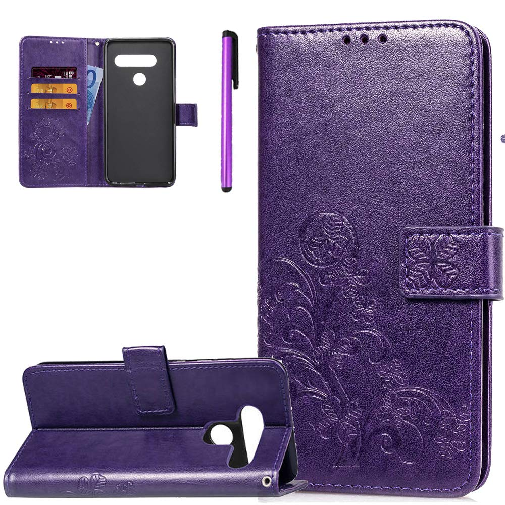 ISADENSER LG V40 ThinQ Case LG V40 Case Clover Design Magnetic Closure Credit Card Slot Holder [Kickstand] Flip Folio Embossed PU Leather Wallet Case Cover LG V40 ThinQ Lucky Clover Purple