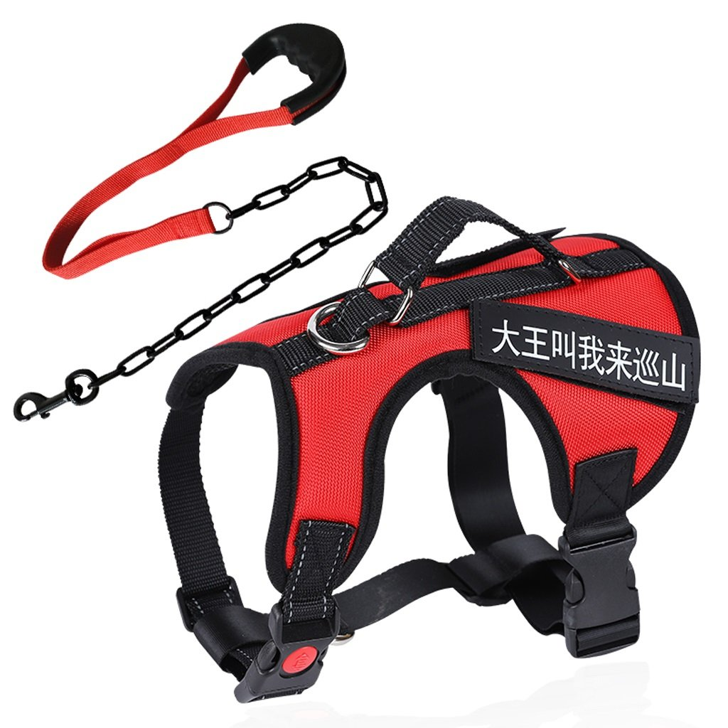 Red MGWM Leashes Pet Harness, Harness, Leash, Iron Chain, Medium, Large, Dog, Dog Leash, Collar, Explosion Proof, Pet Supplies (color   Black, Size   M)