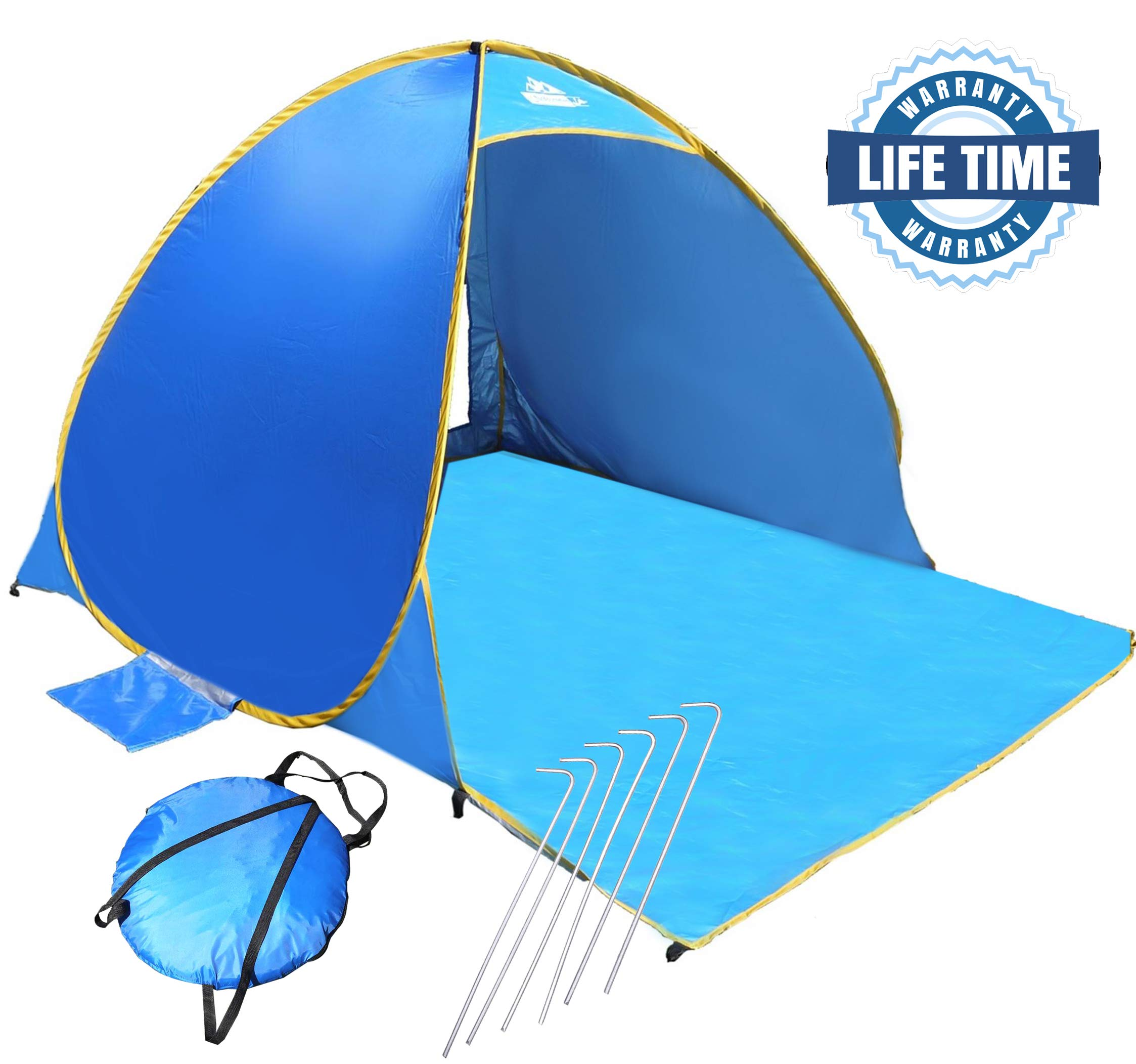 OutdoorsmanLab Automatic Pop Up Beach Tent, Lightweight For Family with UV 50+ Protection, Easy Carrying Bag, Wind Resistant Features by Outdoorsman Lab