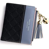 Wallet for Women Leather Short Wallet Bifold, RFID Blocking Wallet Credit Card Holder Organizer with Zipper Pocket Mini Lady Purse (Black)
