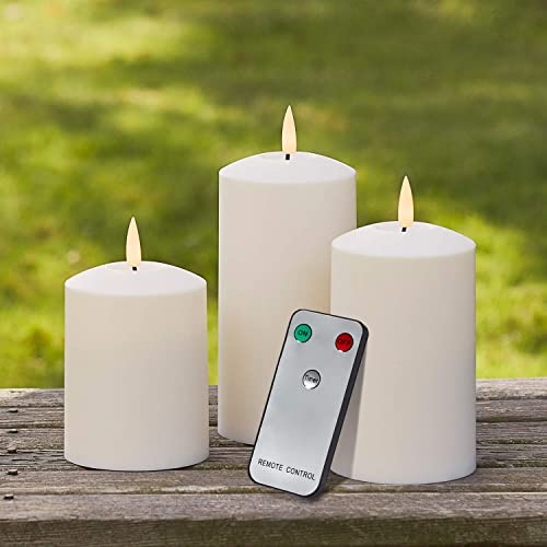 Lights4fun, Inc. Set of 3 TruGlow Ivory Outdoor Waterproof Flameless LED Battery Operated Pillar Candles with Remote Control
