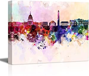 """wall26 Canvas Prints Wall Art - Washington Dc Skyline in Watercolor Background 