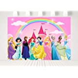 7x5ft Cartoon Princess Theme Rainbow Photography Backdrop Girl 1st First Birthday Party Banner Pink Castle Background…
