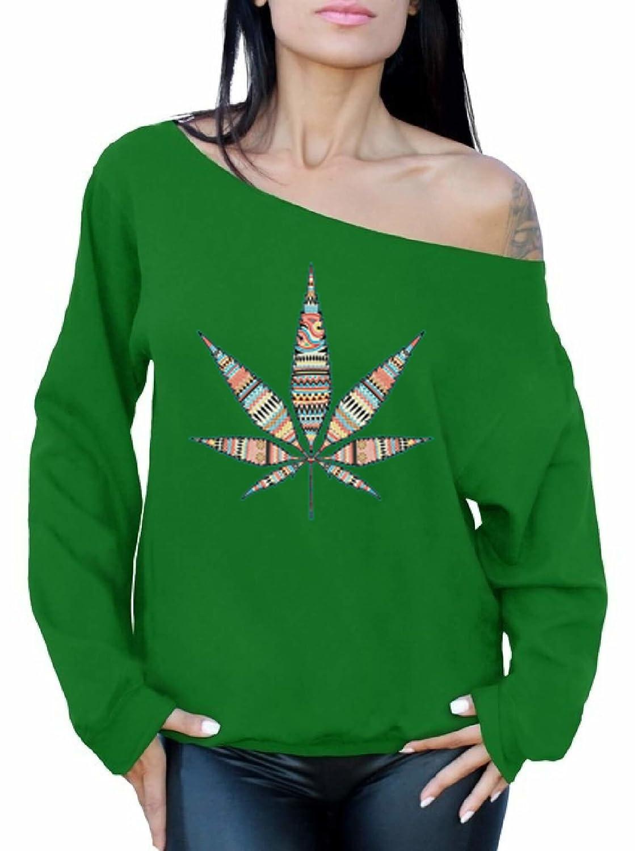 Awkward Styles Womens Marijuana Leaf Cute Off The Shoulder Tops for Women Sweatshirts for Cannabis Lovers
