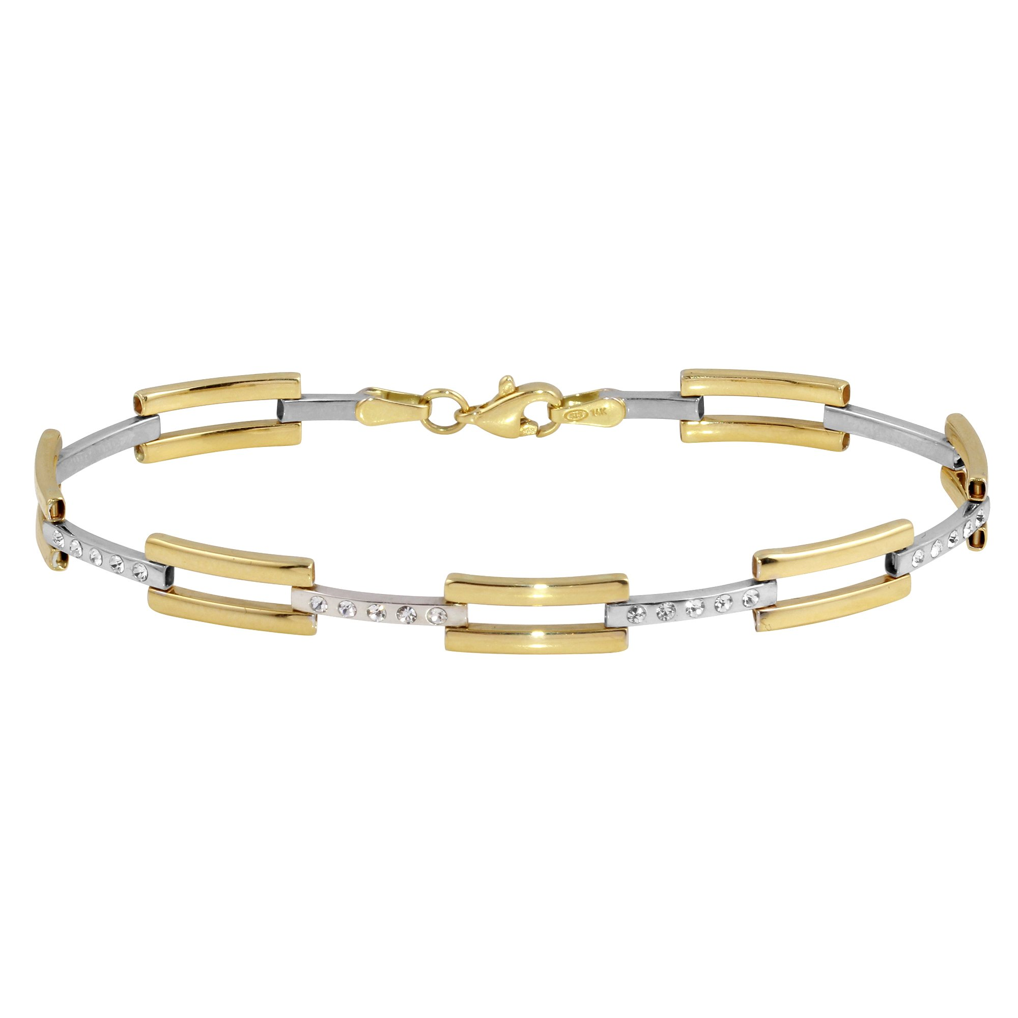 Polished 14k Yellow and White Gold Modern Stampato Love Bracelet with Cubic Zirconia Gemstones