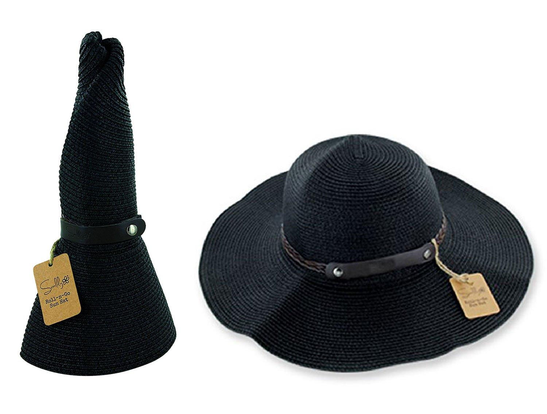 SunLily Women's Roll-n-Go Sun Hat, Black, One Size