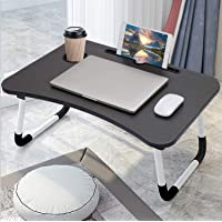 Laptop Bed Table Folding Laptop Table Tray Lap Desk Notebook Stand with ipad Holder Cup Slot Adjustable Anti Slip Legs…