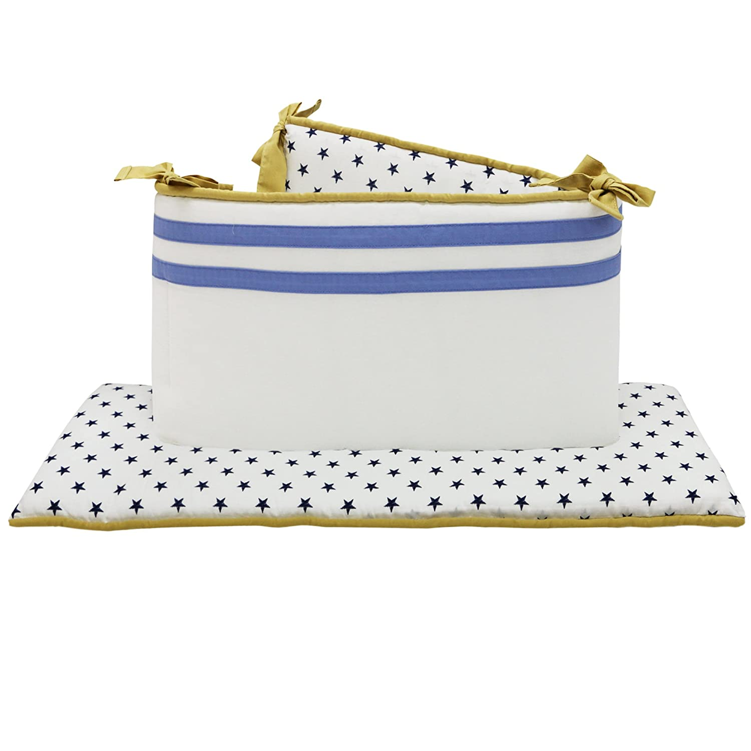 The Peanutshell Stargazer Crib Bumper, Blue/Yellow Farallon Brands BCPS : BCPS-PAB