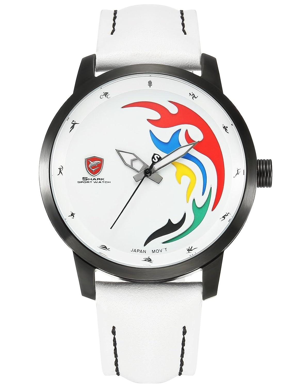 7c7308546762 Shark SH515 - Reloj Hombre Cuarzo de Cuero Blanco  Amazon.es  Relojes