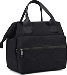 Srise Lunch Bag Insulated Lunch Box, Wide-Open Meal Prep Lunch Tote Bags Durable Nylon Snacks Organizer for Men and Women - Black